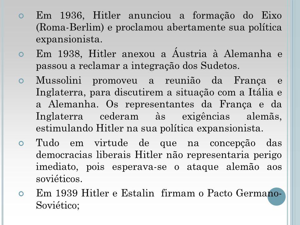 Em 1936, Hitler anunciou a formação do Eixo (Roma-Berlim) e proclamou abertamente sua política expansionista.