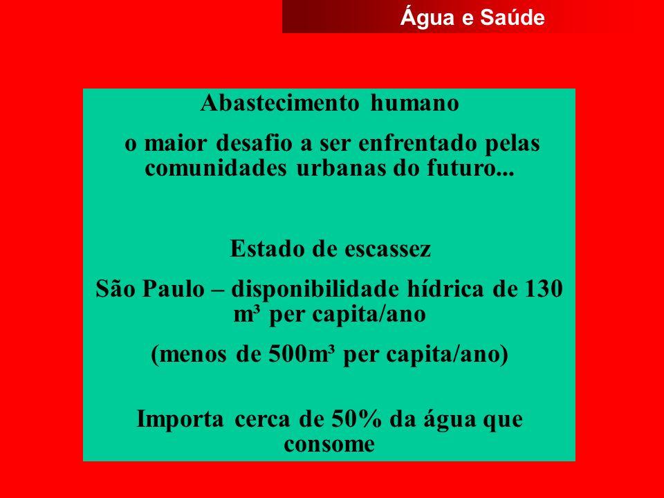 São Paulo – disponibilidade hídrica de 130 m³ per capita/ano