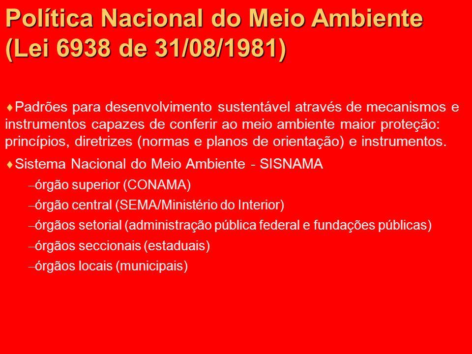 Política Nacional do Meio Ambiente (Lei 6938 de 31/08/1981)