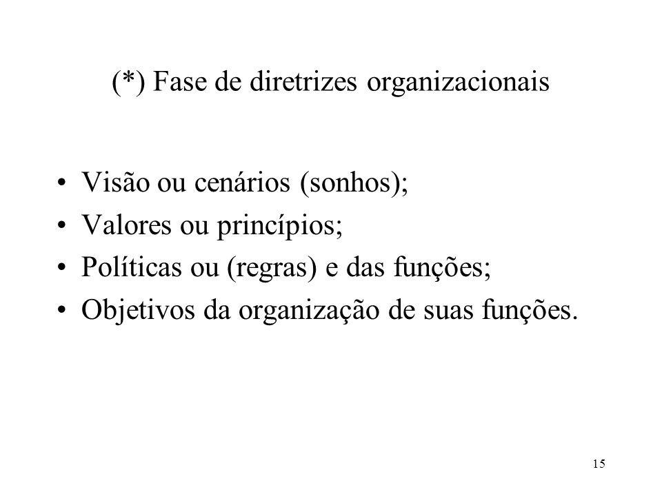 (*) Fase de diretrizes organizacionais