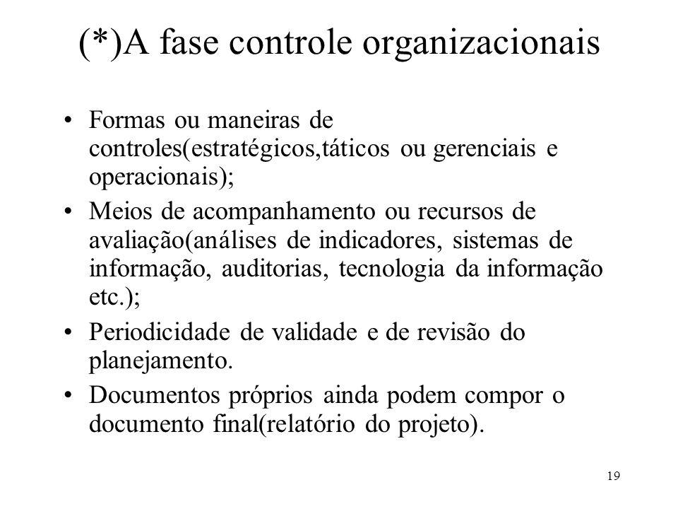 (*)A fase controle organizacionais