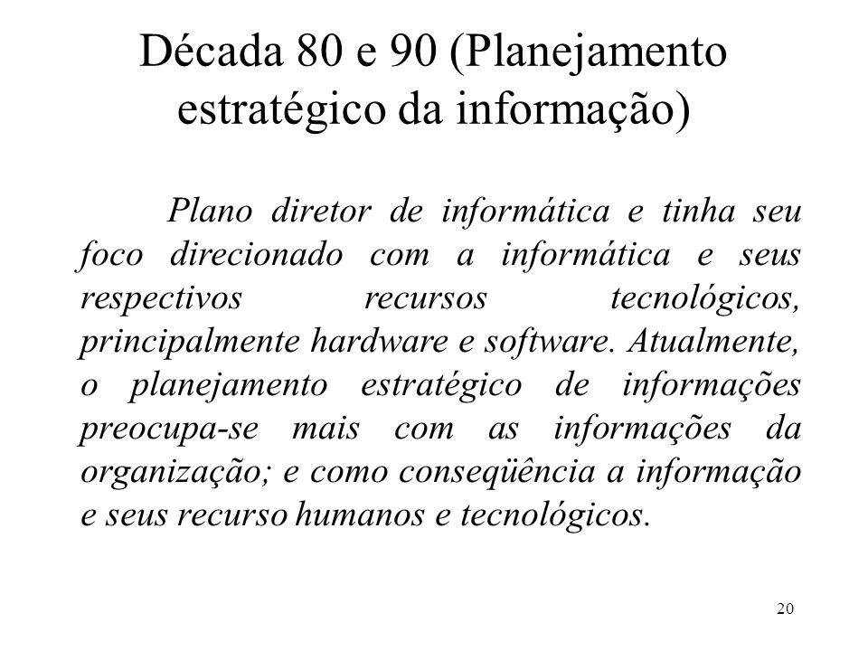 Década 80 e 90 (Planejamento estratégico da informação)