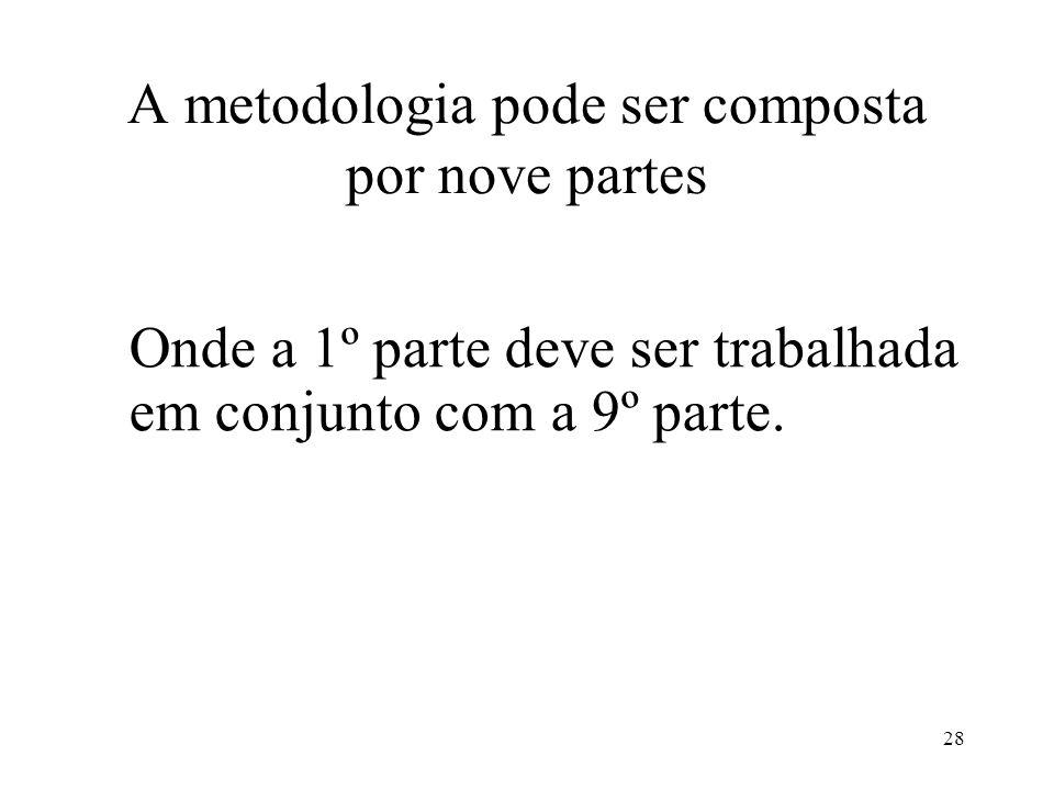 A metodologia pode ser composta por nove partes