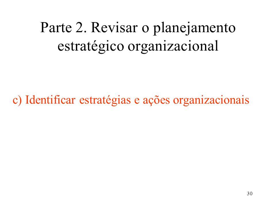Parte 2. Revisar o planejamento estratégico organizacional
