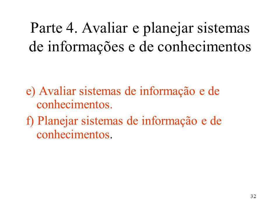Parte 4. Avaliar e planejar sistemas de informações e de conhecimentos