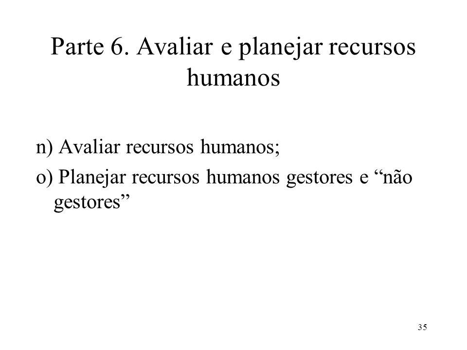 Parte 6. Avaliar e planejar recursos humanos