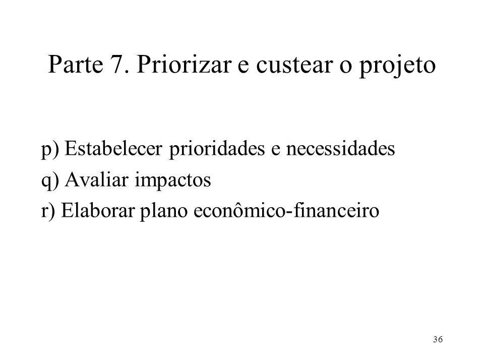 Parte 7. Priorizar e custear o projeto