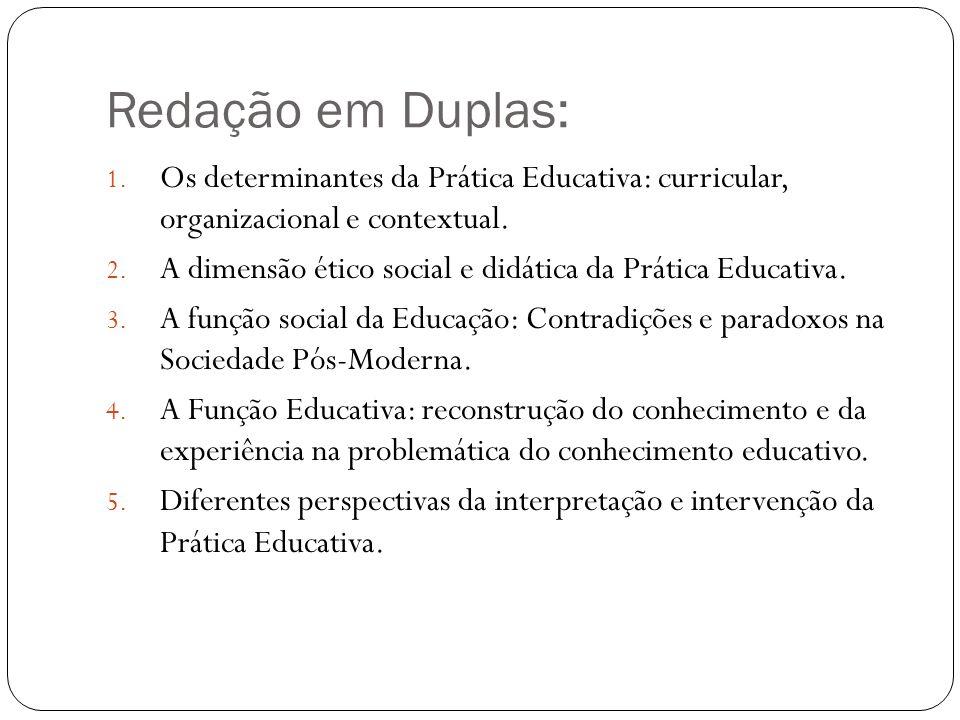Redação em Duplas: Os determinantes da Prática Educativa: curricular, organizacional e contextual.