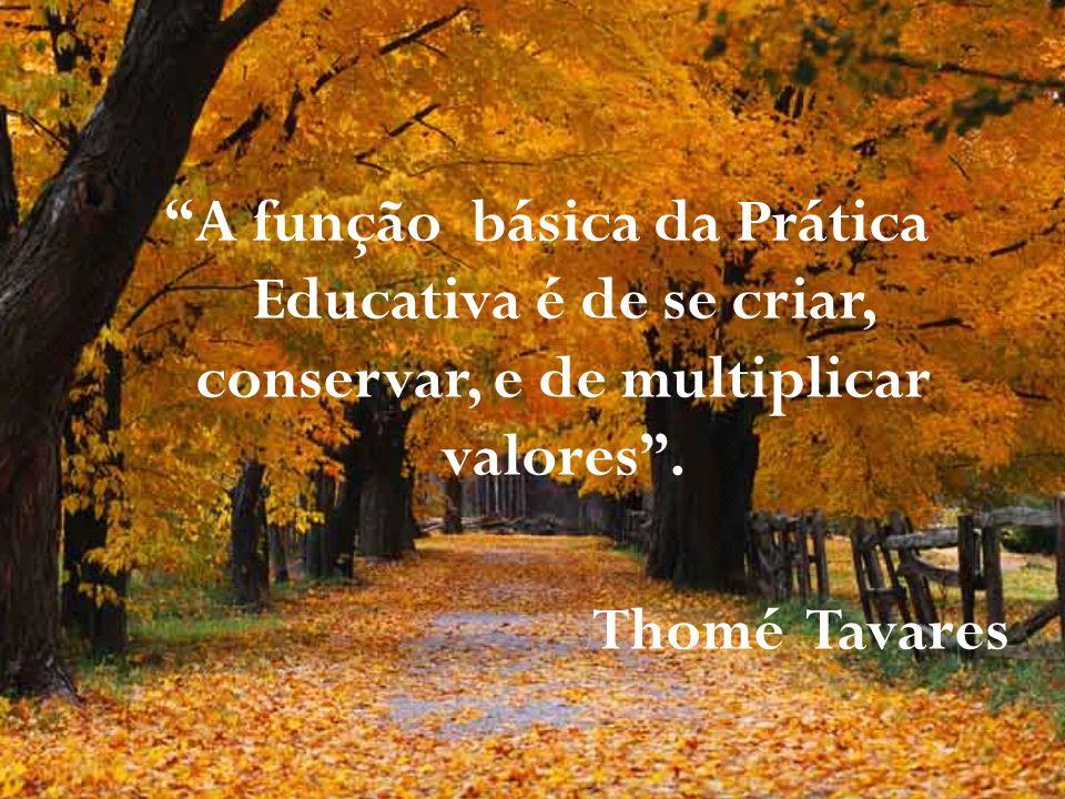 A função básica da Prática Educativa é de se criar, conservar, e de multiplicar valores .