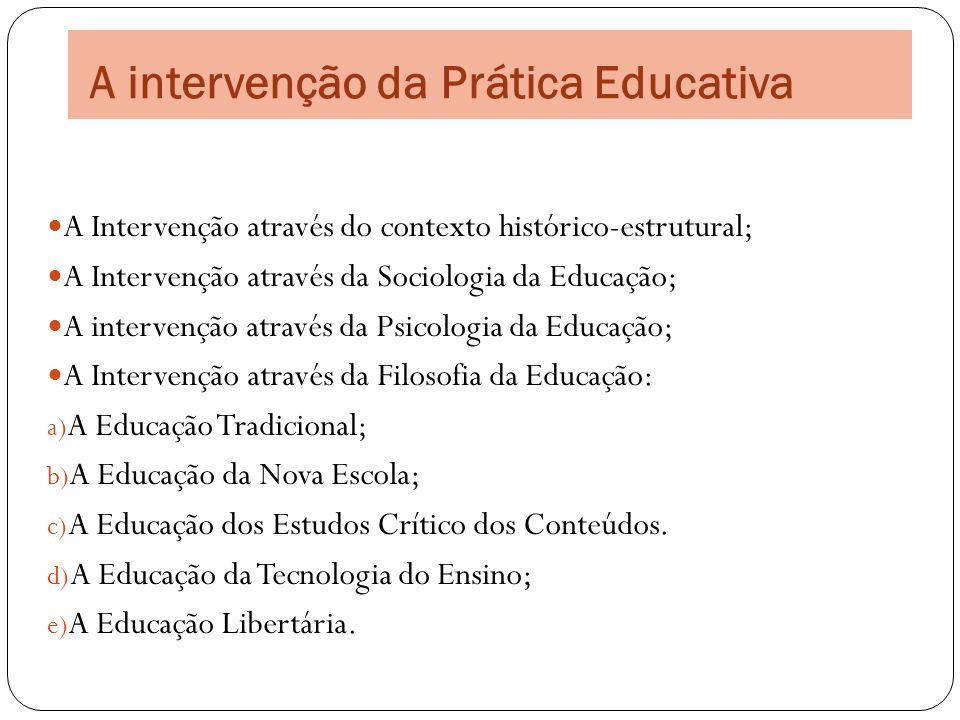 A intervenção da Prática Educativa