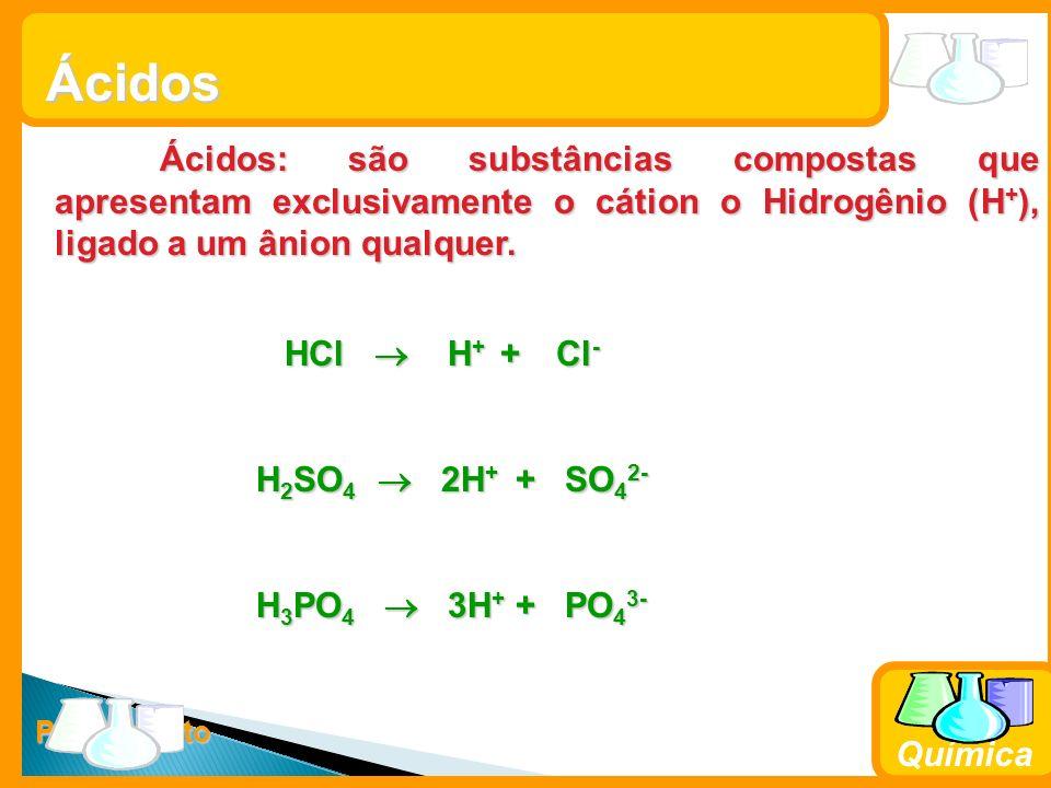 Ácidos Ácidos: são substâncias compostas que apresentam exclusivamente o cátion o Hidrogênio (H+), ligado a um ânion qualquer.