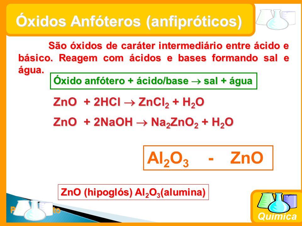 Al2O3 - ZnO Óxidos Anfóteros (anfipróticos) ZnO + 2HCl  ZnCl2 + H2O