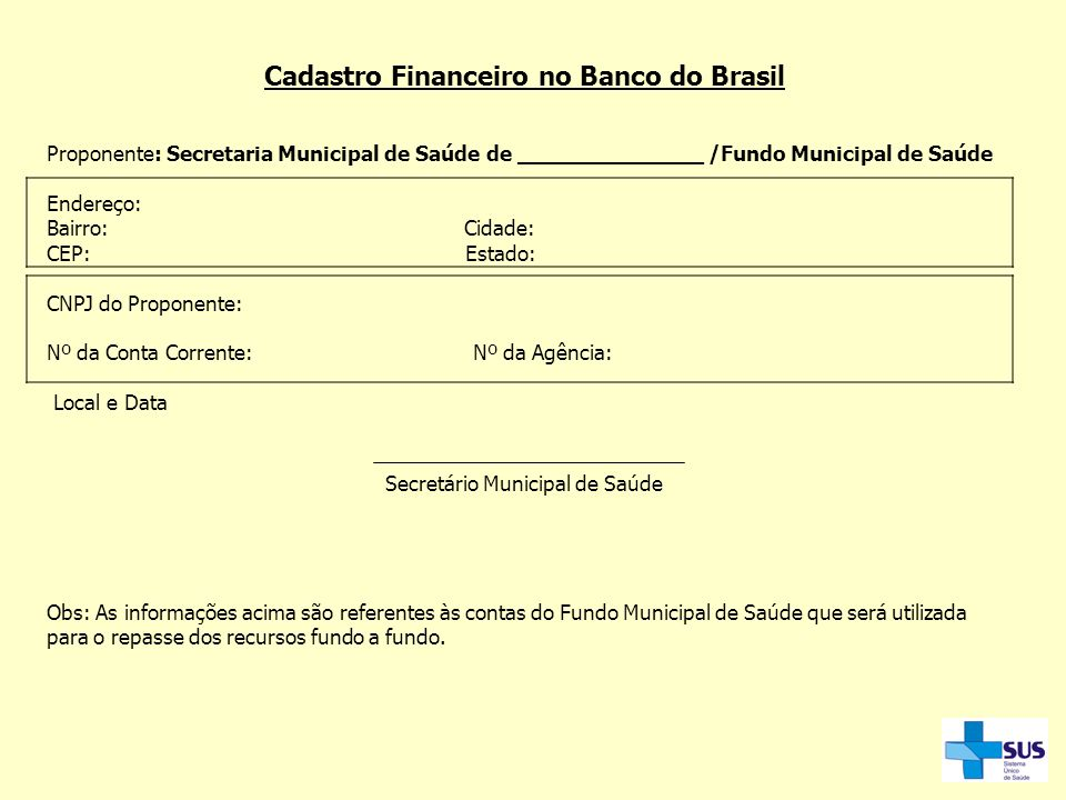 Cadastro Financeiro no Banco do Brasil