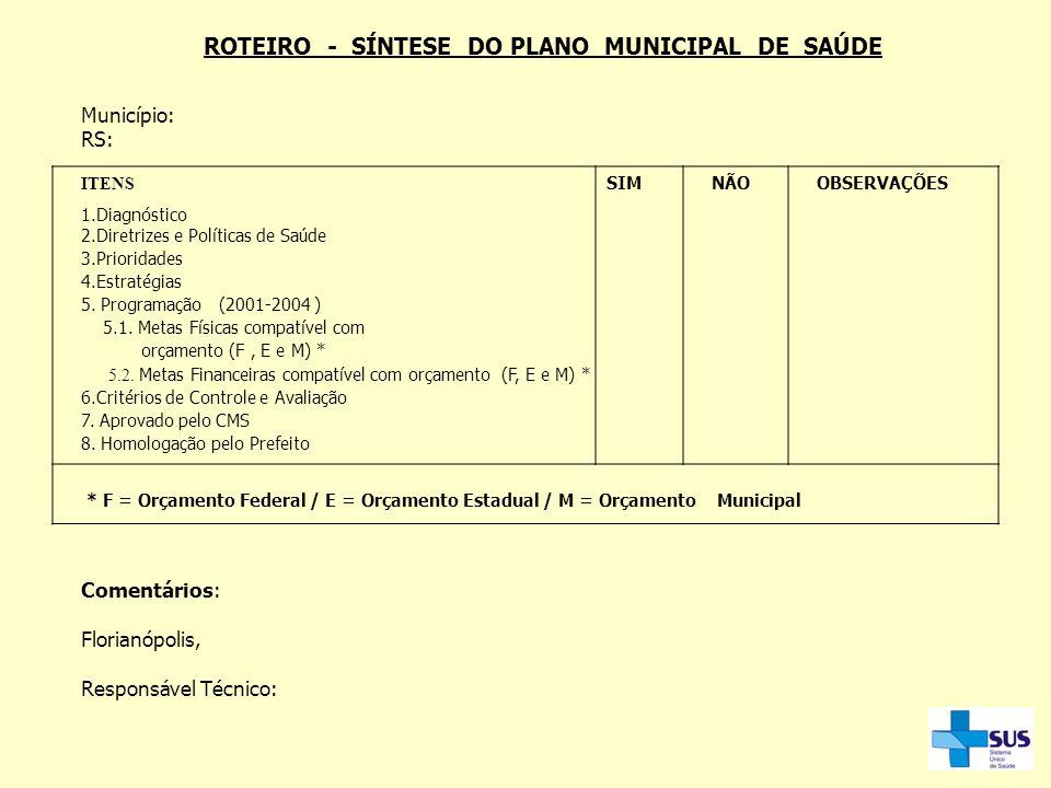 ROTEIRO - SÍNTESE DO PLANO MUNICIPAL DE SAÚDE