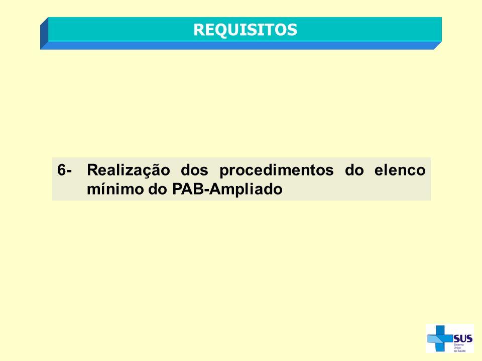 REQUISITOS 6- Realização dos procedimentos do elenco mínimo do PAB-Ampliado