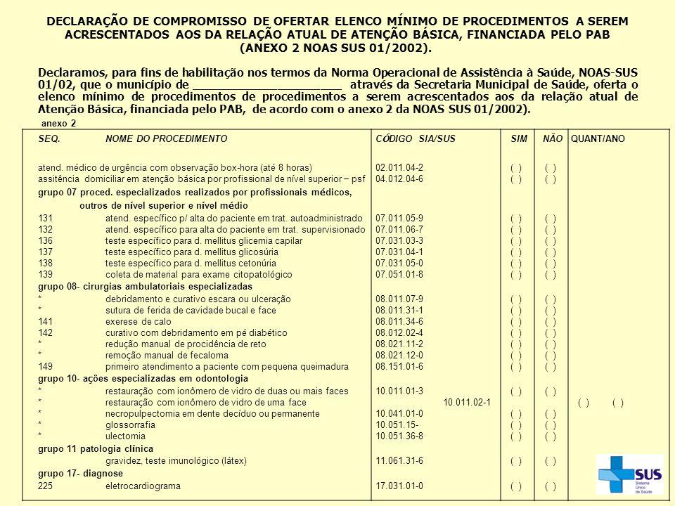 DECLARAÇÃO DE COMPROMISSO DE OFERTAR ELENCO MÍNIMO DE PROCEDIMENTOS A SEREM ACRESCENTADOS AOS DA RELAÇÃO ATUAL DE ATENÇÃO BÁSICA, FINANCIADA PELO PAB (ANEXO 2 NOAS SUS 01/2002).