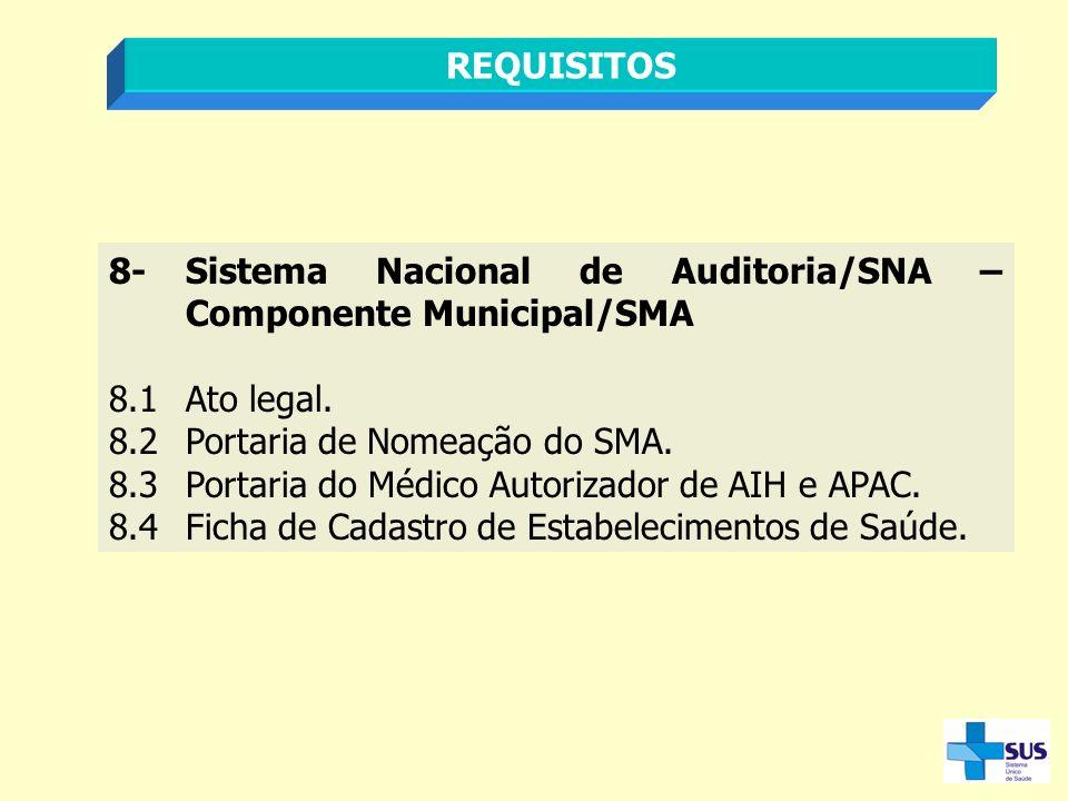 REQUISITOS 8- Sistema Nacional de Auditoria/SNA – Componente Municipal/SMA. 8.1 Ato legal. 8.2 Portaria de Nomeação do SMA.