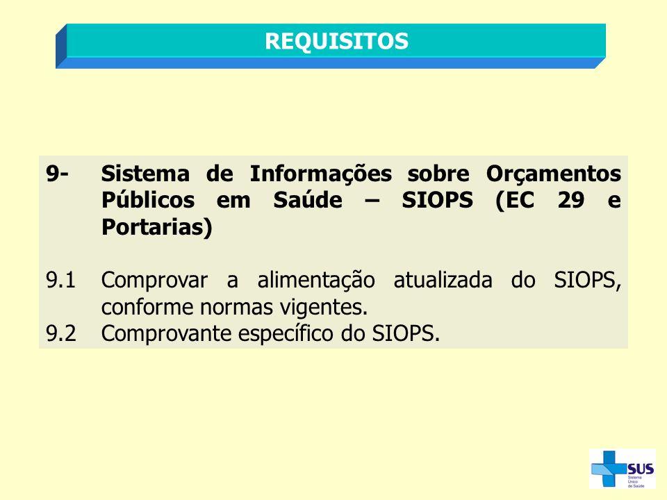 REQUISITOS 9- Sistema de Informações sobre Orçamentos Públicos em Saúde – SIOPS (EC 29 e Portarias)