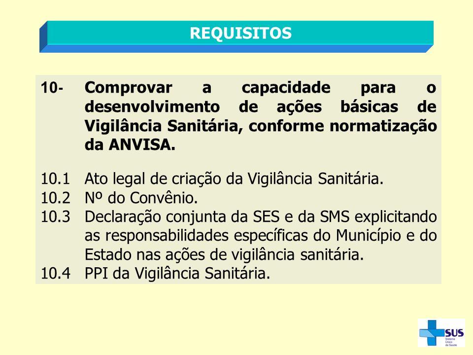 REQUISITOS 10- Comprovar a capacidade para o desenvolvimento de ações básicas de Vigilância Sanitária, conforme normatização da ANVISA.