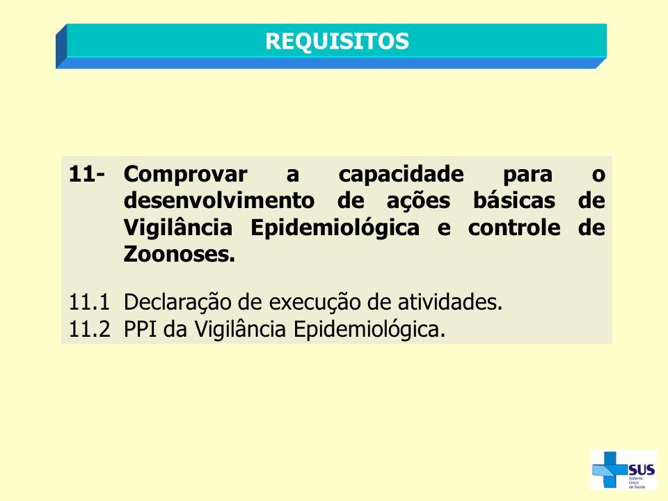 REQUISITOS 11- Comprovar a capacidade para o desenvolvimento de ações básicas de Vigilância Epidemiológica e controle de Zoonoses.