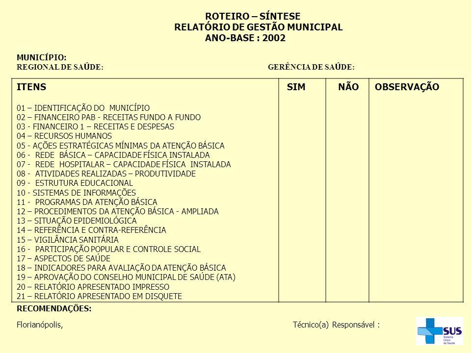 RELATÓRIO DE GESTÃO MUNICIPAL ANO-BASE : 2002