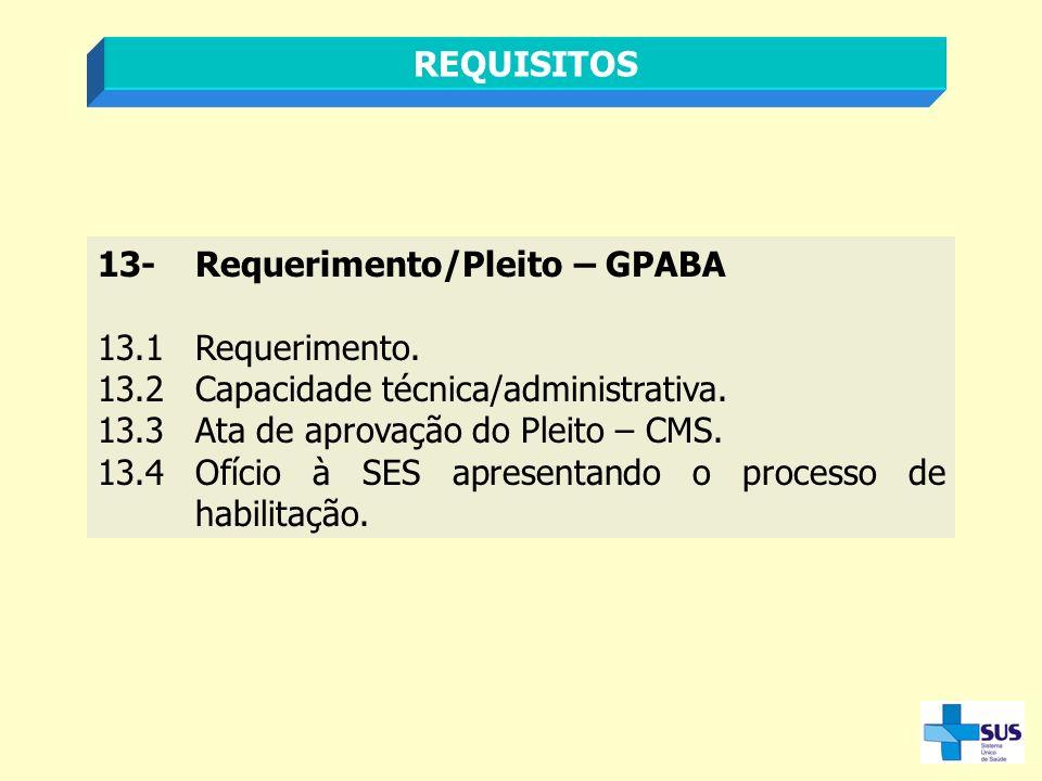REQUISITOS 13- Requerimento/Pleito – GPABA. 13.1 Requerimento. 13.2 Capacidade técnica/administrativa.
