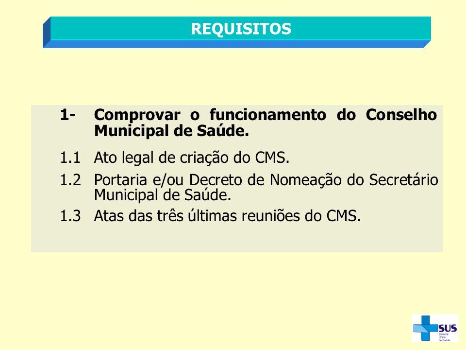 REQUISITOS 1- Comprovar o funcionamento do Conselho Municipal de Saúde. 1.1 Ato legal de criação do CMS.