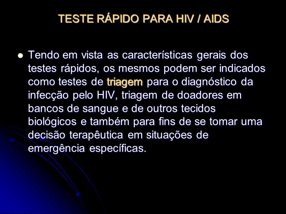 TESTE RÁPIDO PARA HIV / AIDS