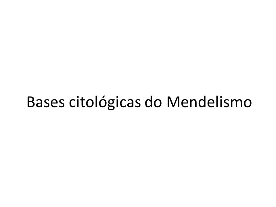 Bases citológicas do Mendelismo