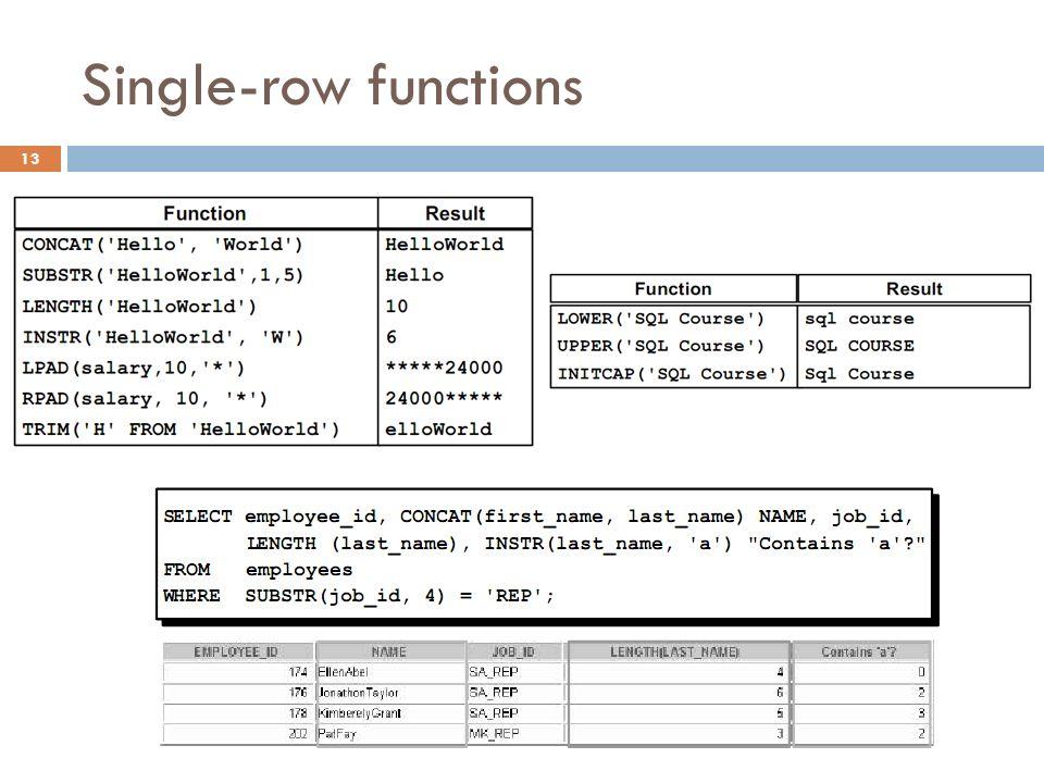 Single-row functions