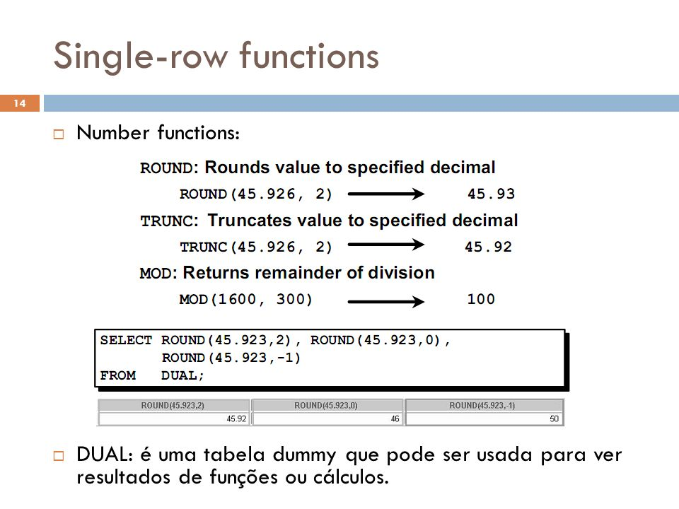 Single-row functions Number functions: