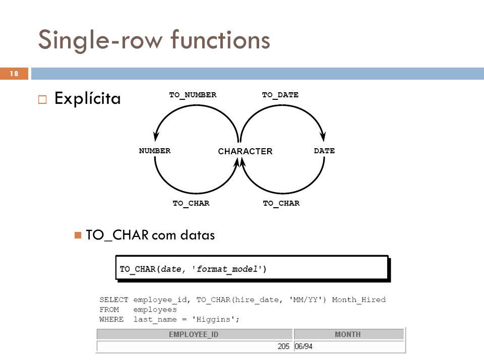 Single-row functions Explícita TO_CHAR com datas