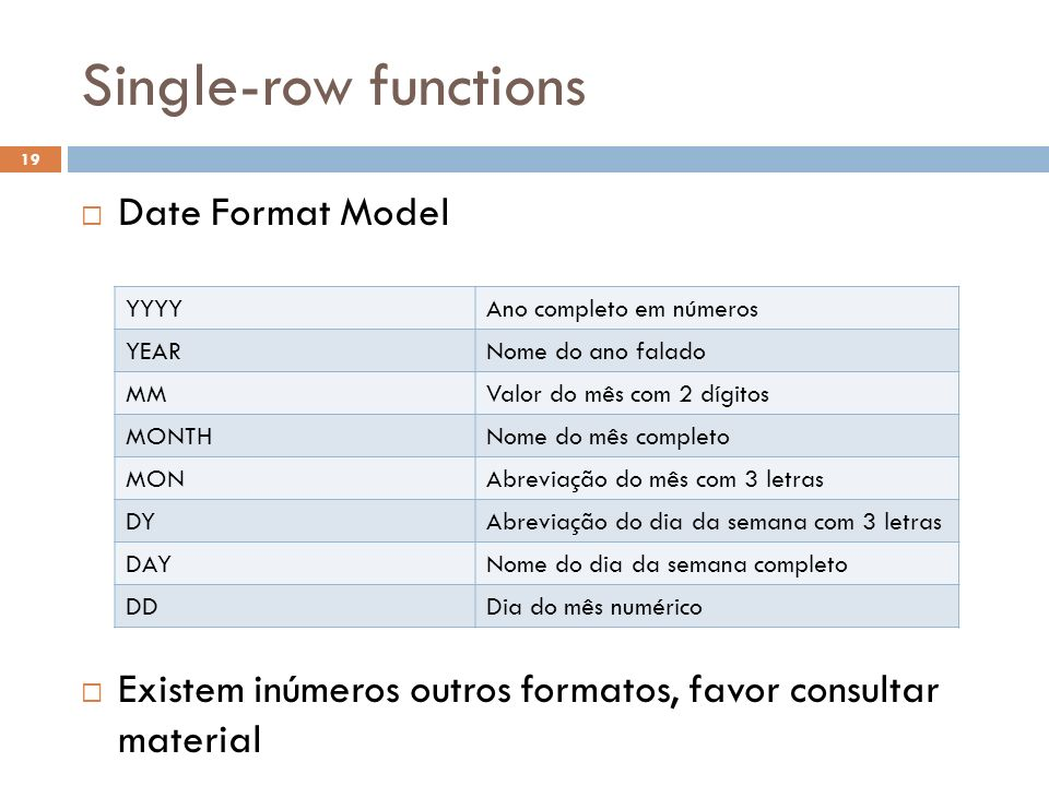 Single-row functions Date Format Model
