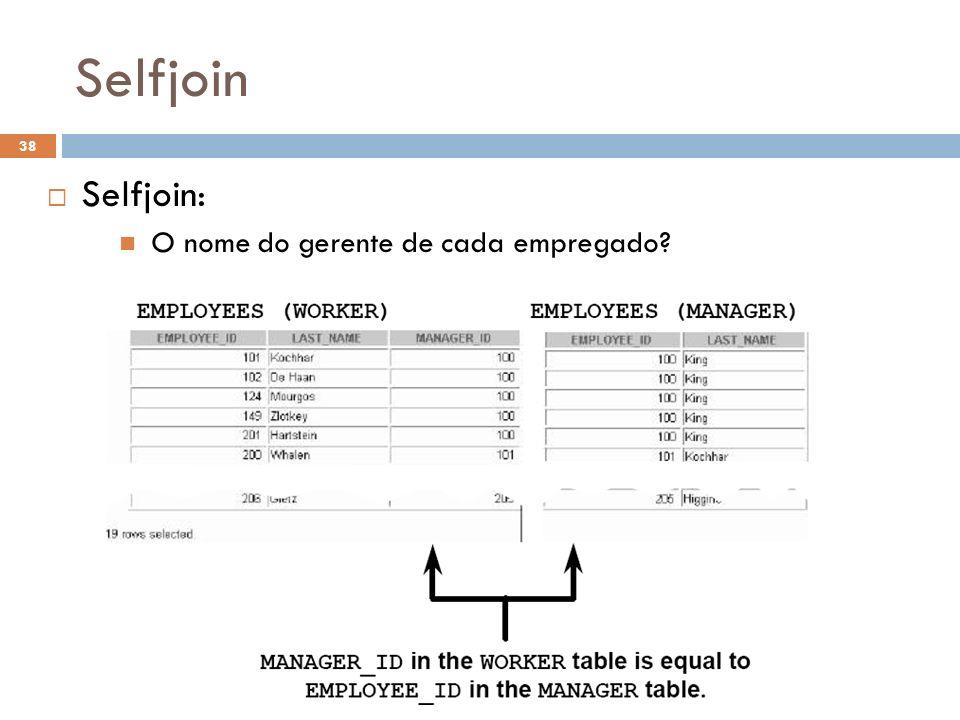Selfjoin Selfjoin: O nome do gerente de cada empregado