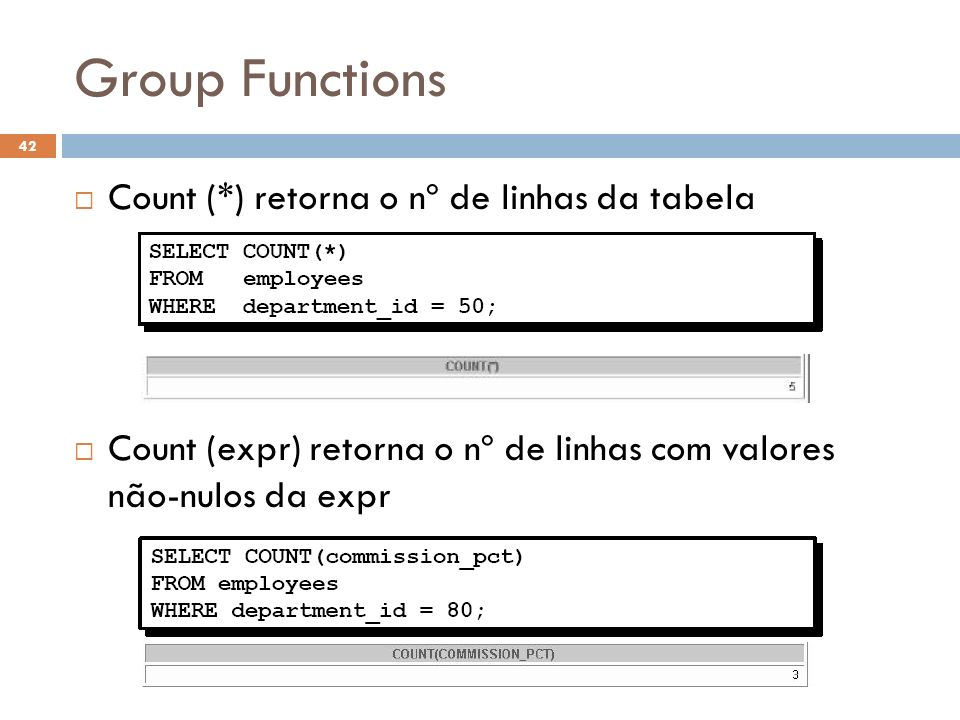 Group Functions Count (*) retorna o nº de linhas da tabela