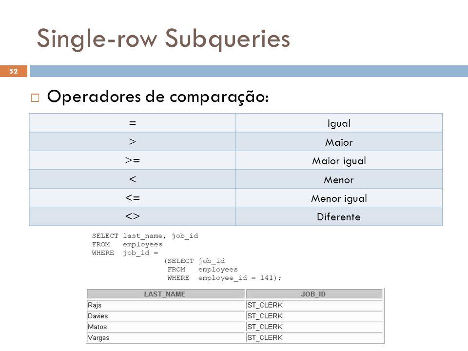 Single-row Subqueries