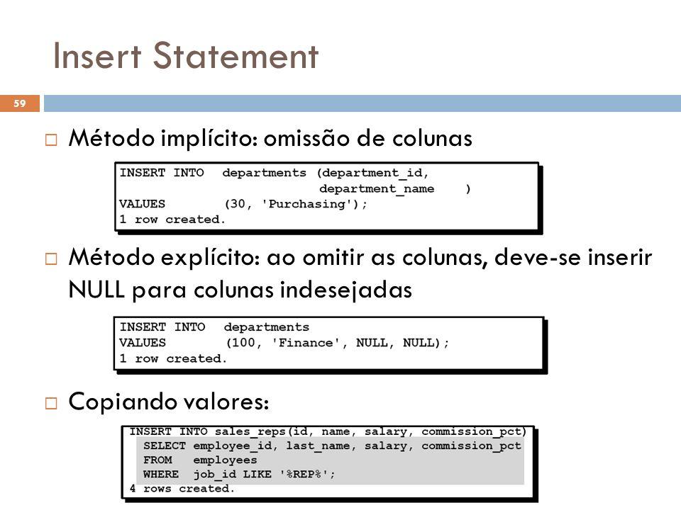Insert Statement Método implícito: omissão de colunas