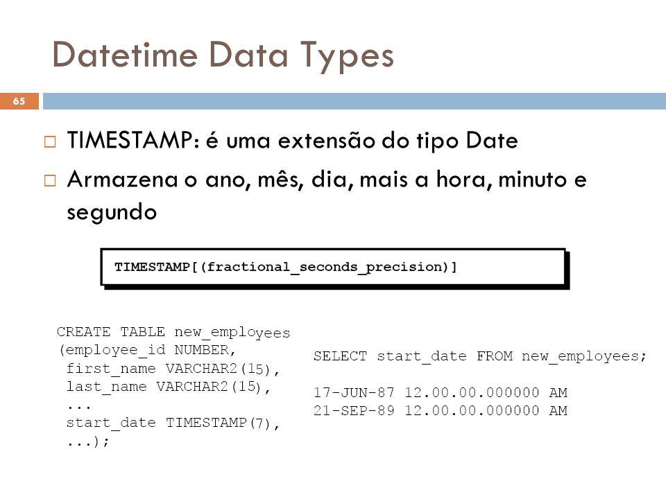 Datetime Data Types TIMESTAMP: é uma extensão do tipo Date