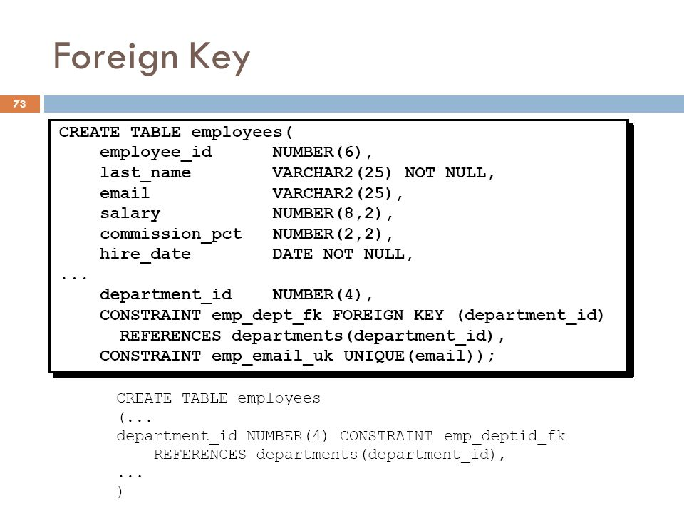 Foreign Key Constraints (NOT NULL, UNIQUE, PRIMARY KEY, FOREIGN KEY, CHECK)