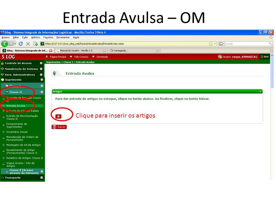 Entrada Avulsa – OM Clique para inserir os artigos 19