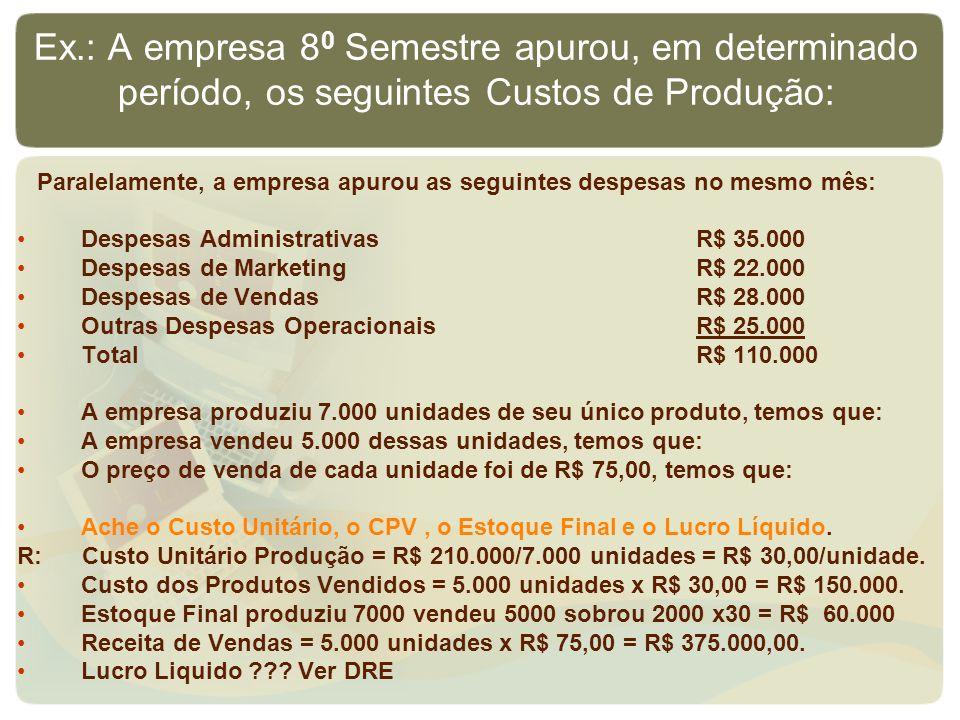 Ex.: A empresa 80 Semestre apurou, em determinado período, os seguintes Custos de Produção: