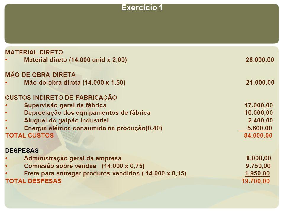 Exercício 1 MATERIAL DIRETO