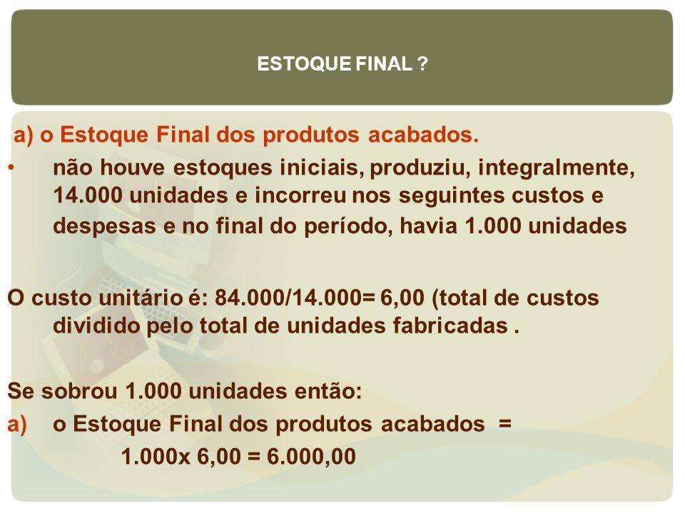 a) o Estoque Final dos produtos acabados.