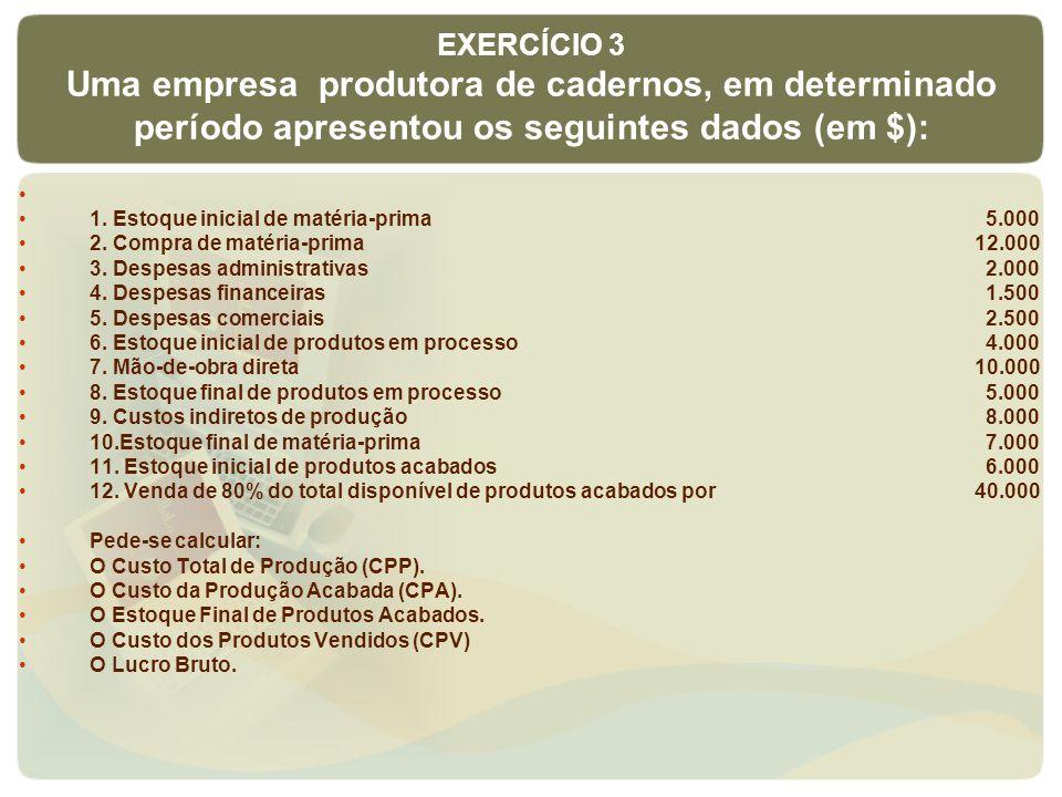 EXERCÍCIO 3 Uma empresa produtora de cadernos, em determinado período apresentou os seguintes dados (em $):