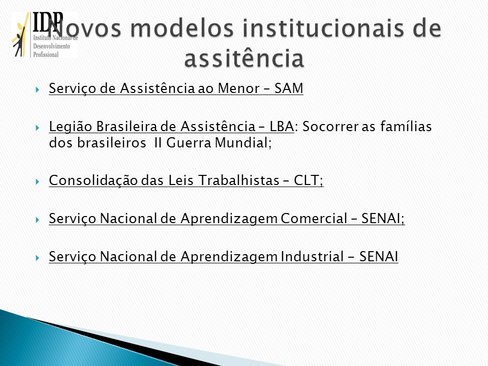 Novos modelos institucionais de assitência