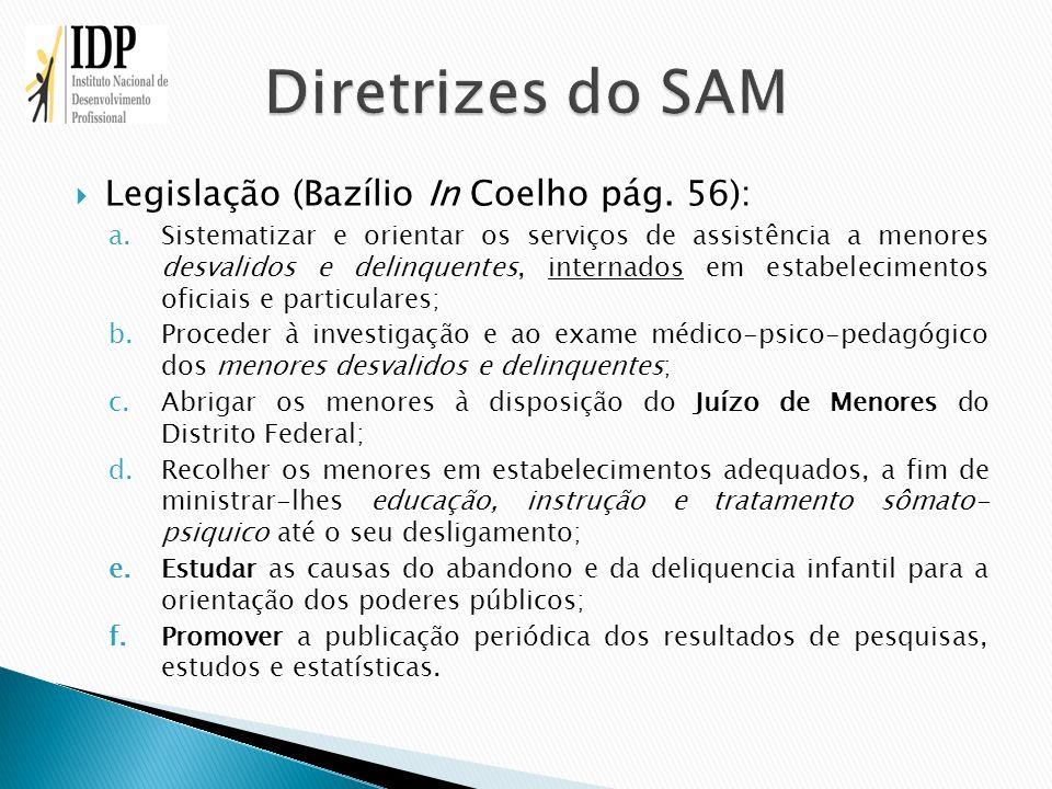 Diretrizes do SAM Legislação (Bazílio In Coelho pág. 56):