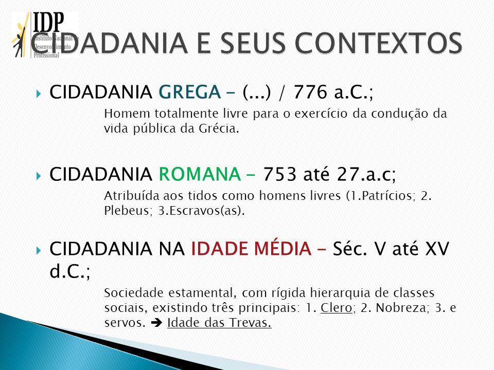 CIDADANIA E SEUS CONTEXTOS