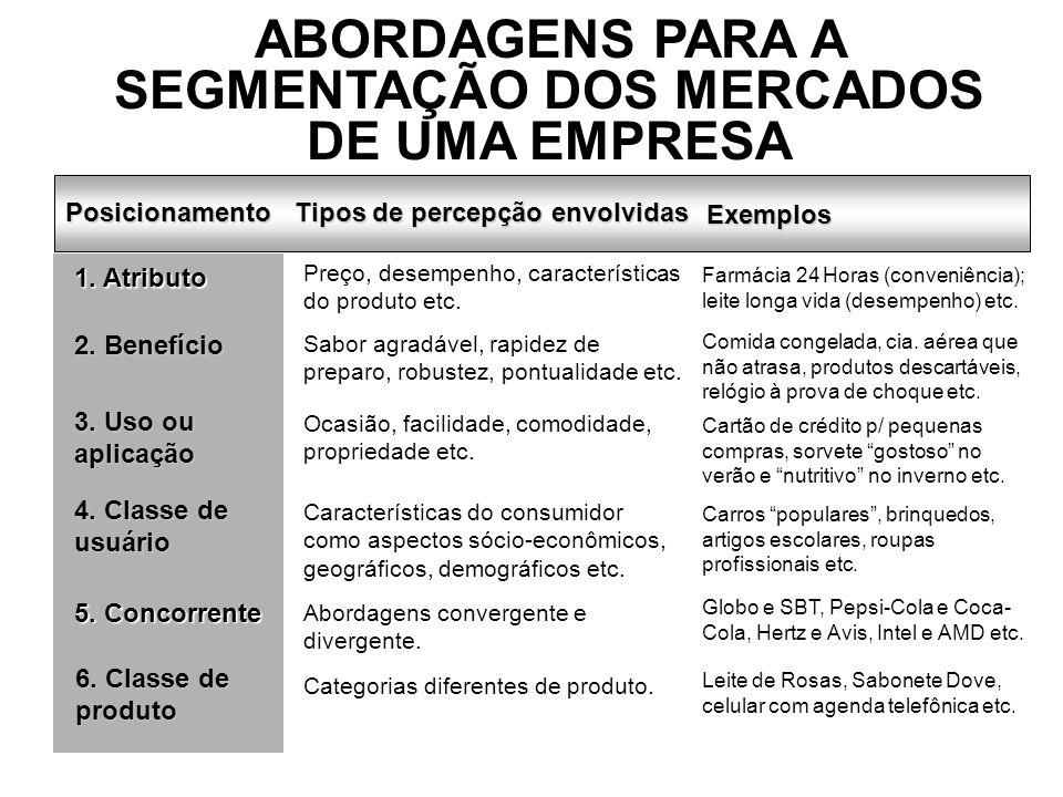 ABORDAGENS PARA A SEGMENTAÇÃO DOS MERCADOS DE UMA EMPRESA
