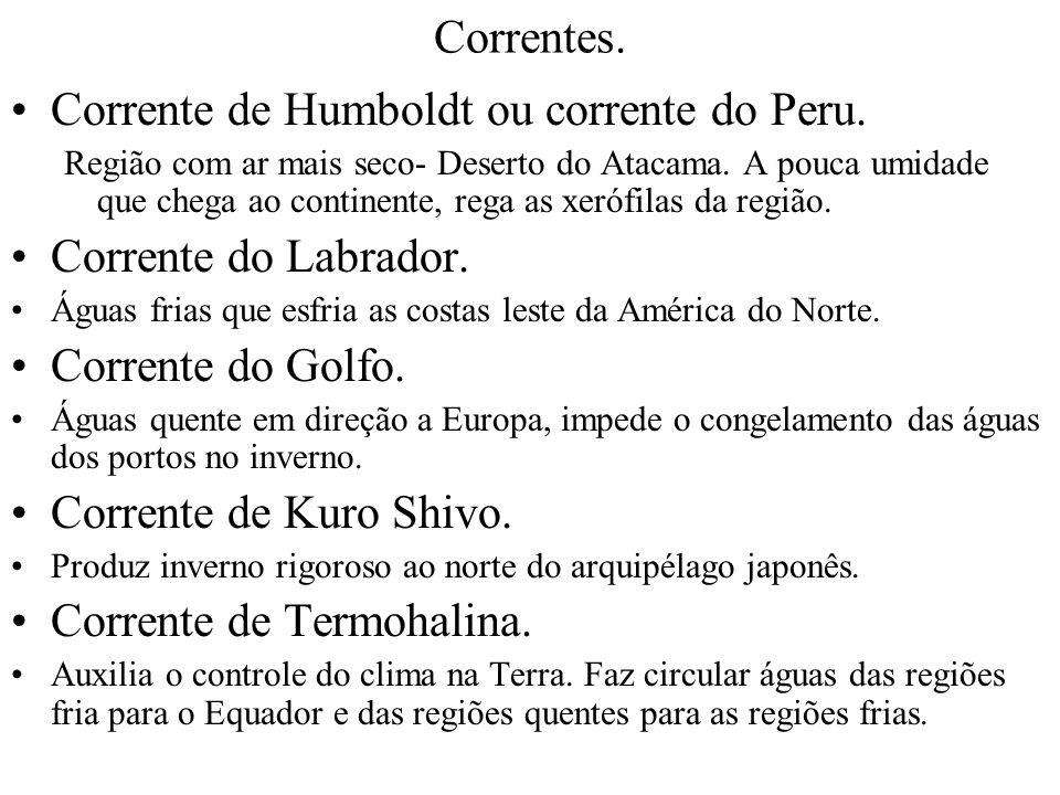 Corrente de Humboldt ou corrente do Peru. Corrente do Labrador.