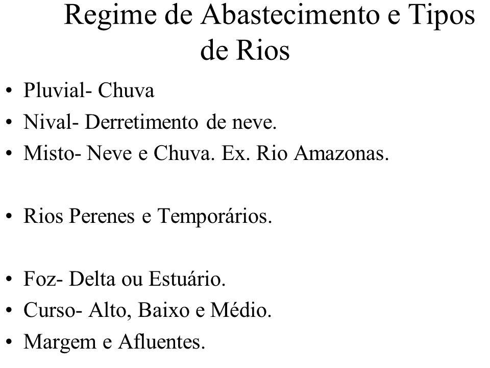 Regime de Abastecimento e Tipos de Rios